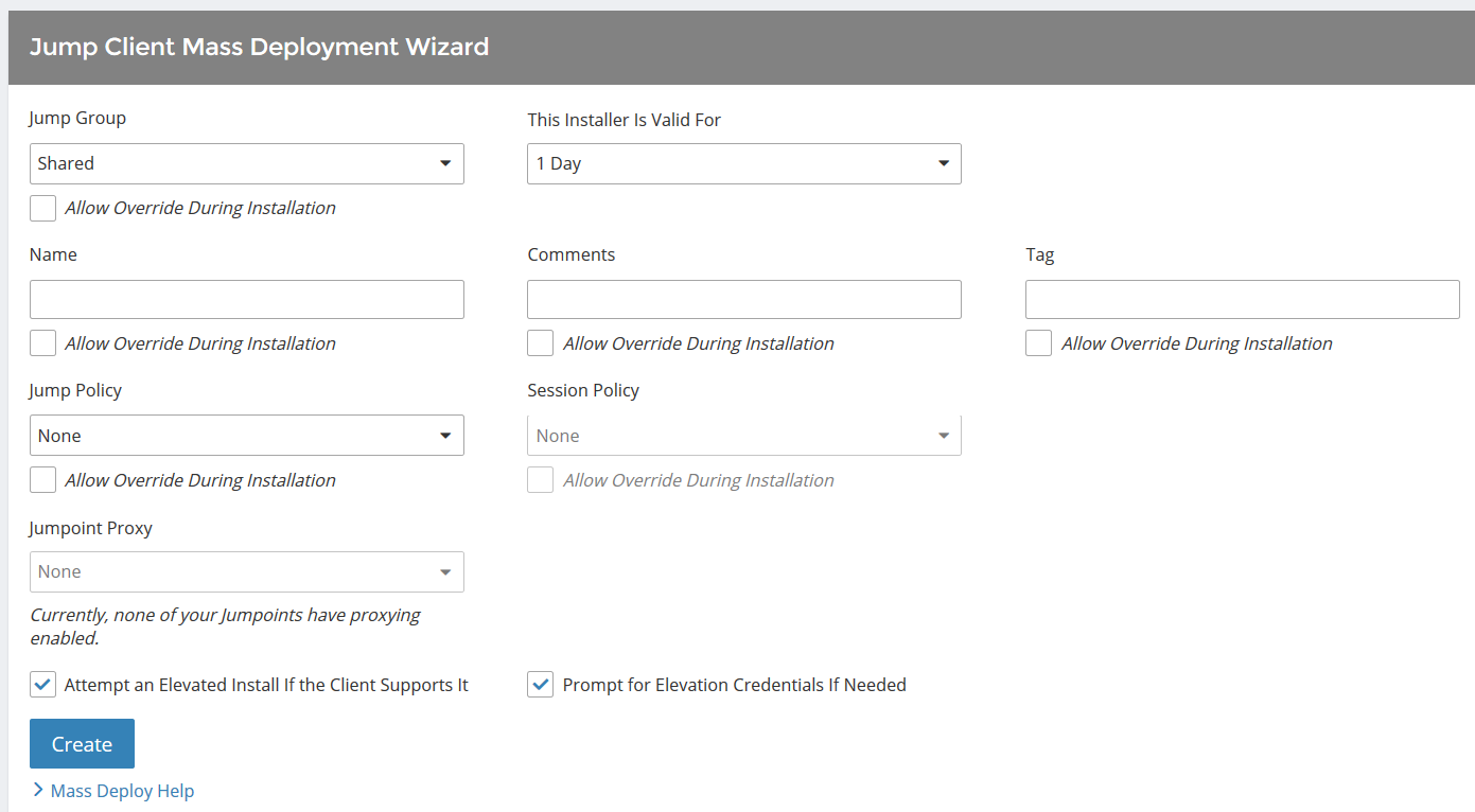 Deploy Jump Clients from the Administrative Interface