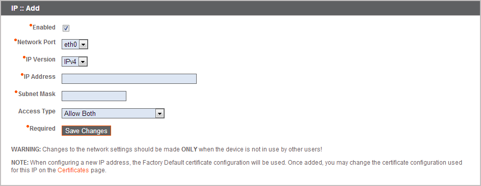 IP Configuration and Network Settings, Use the Correct IP Address